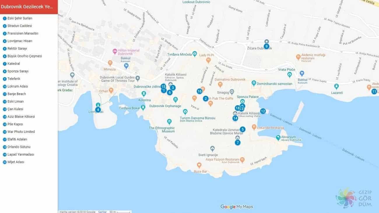 Dubrovnik'te gezilecek görülecek yerler haritası, Dubrovnik haritası