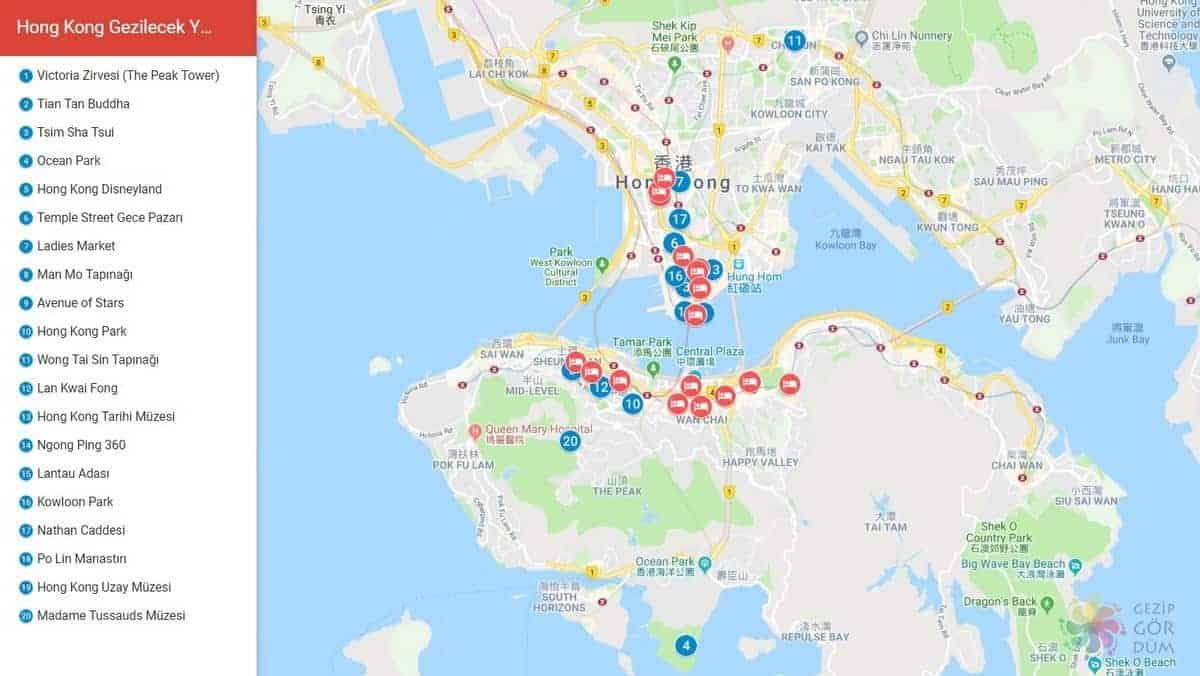 hong kong gezilecek yerler konum bilgileri