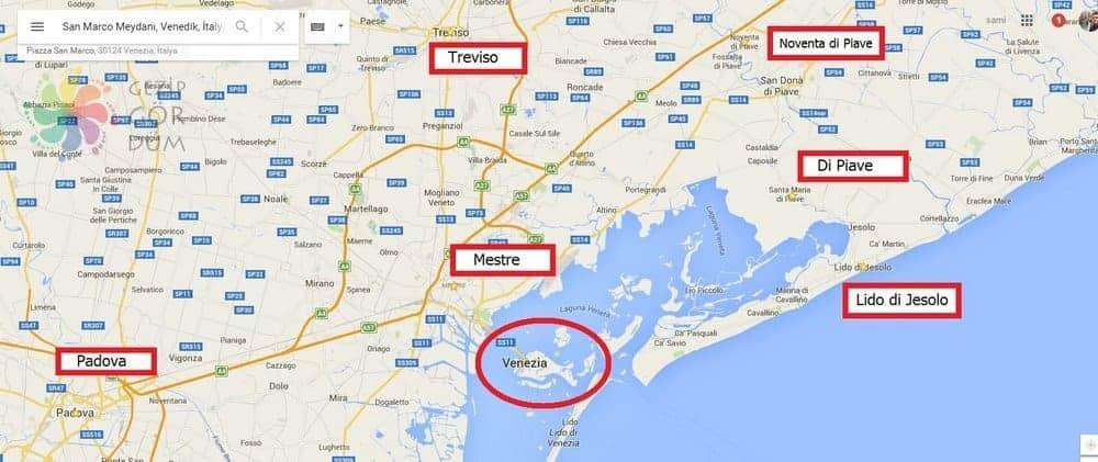 venedik konaklama bölgeleri