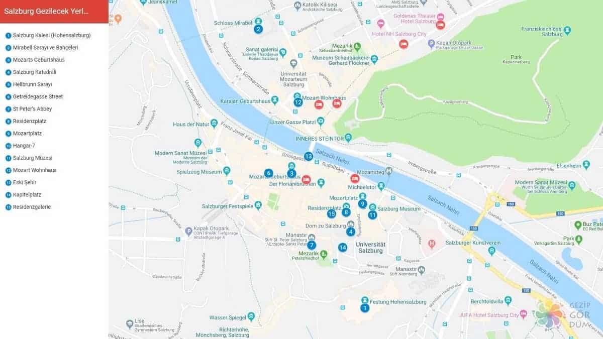 Salzburg haritası, gezilecek görülecek yerler