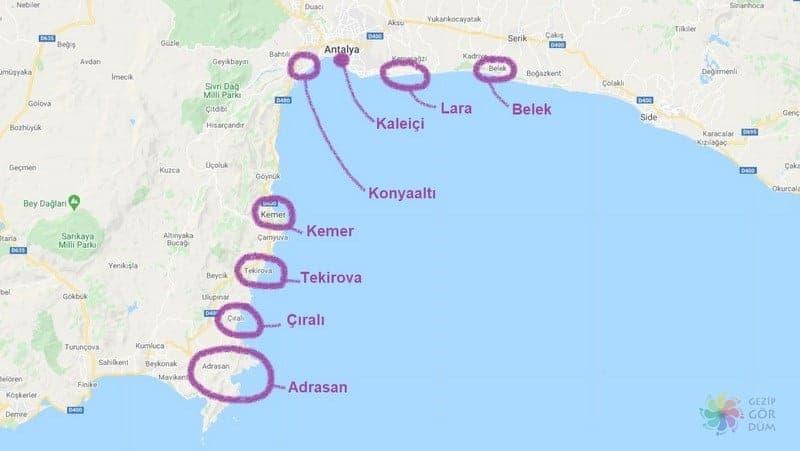 Antalya'da nerede kalınır konum bilgileri