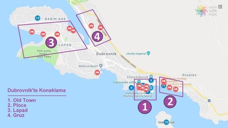 Dubrovnik'te nerede kalınır bölgeler ve oteller harita konumları