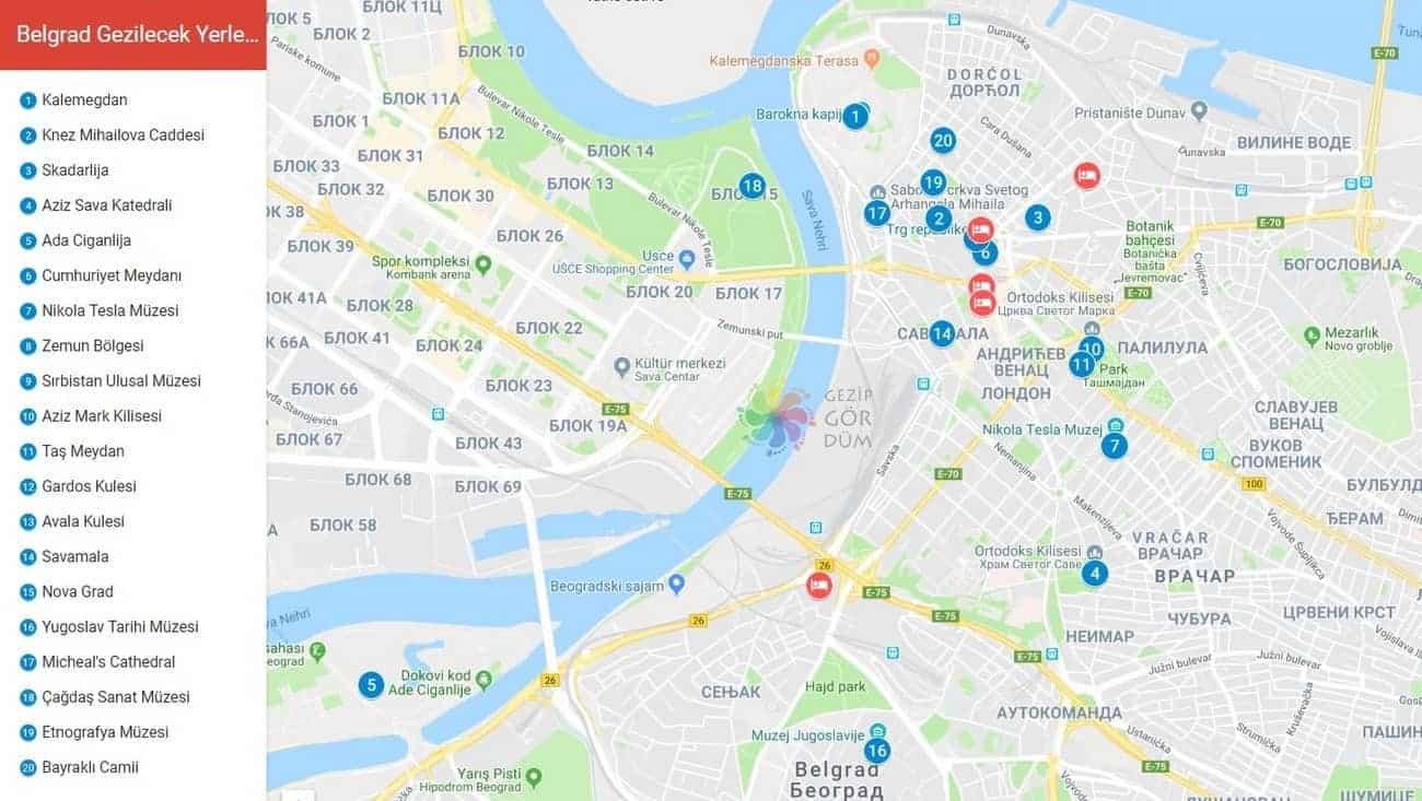 Belgrad gezilecek yerler konum bilgileri