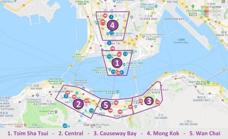 Hong Kong konaklama bölgeler