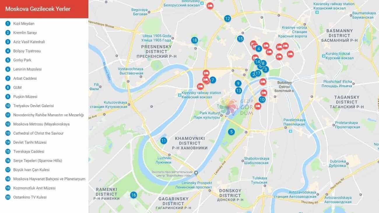 moskova haritası, moskova'da gezilecek yerler haritası
