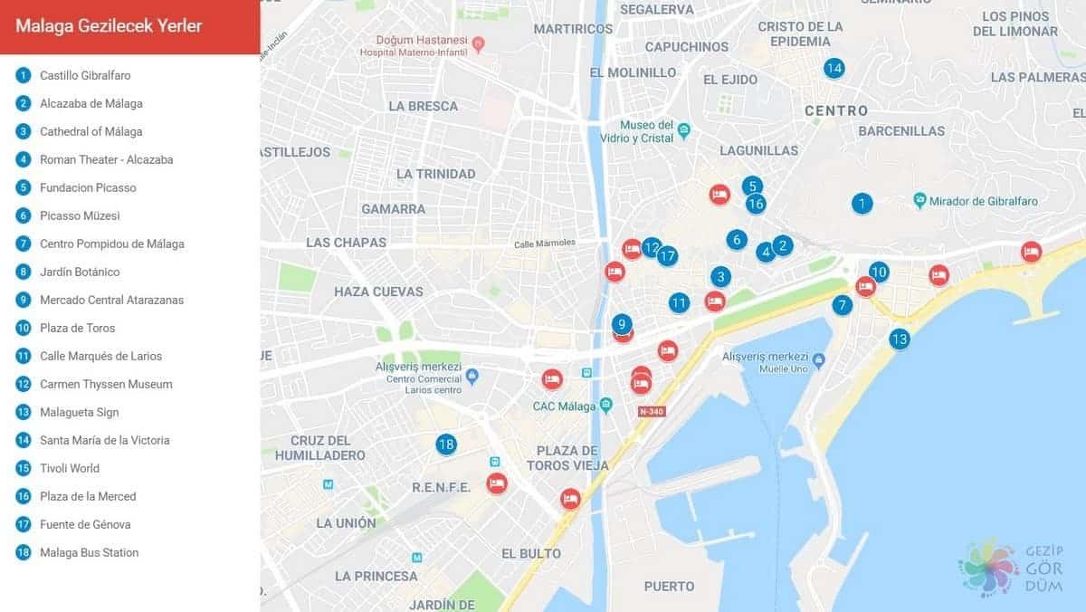 Malaga'da gezilecek görülecek yerler haritası
