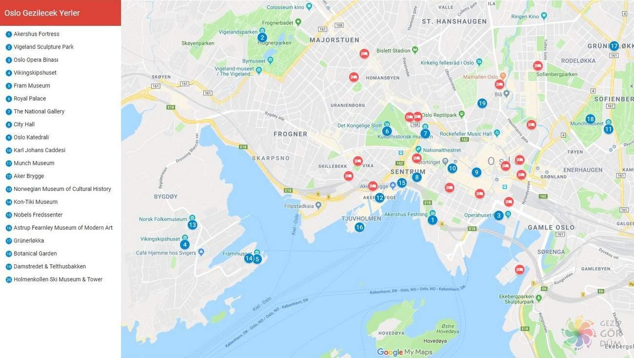 Oslo gezilecek yerler listesi