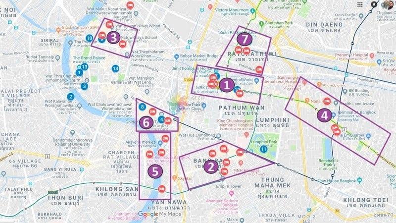 Bangkok'ta konaklama yapılacak bölgeler