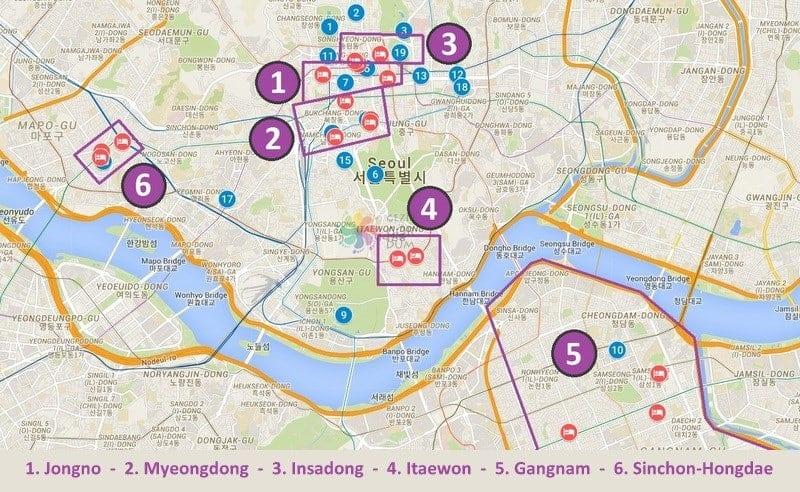 Seul'de konaklama yapılacak bölgeler, Seul haritası