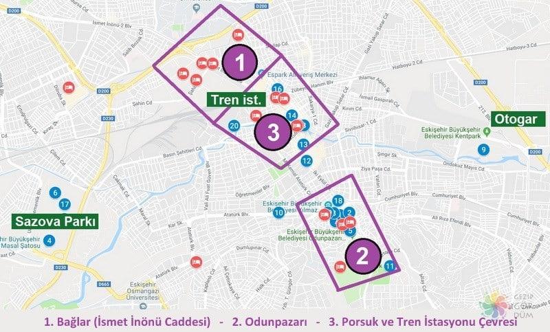 Eskişehir'de nerede kalınır haritası, Eskişehir'de konaklama yapılacak bölgeler