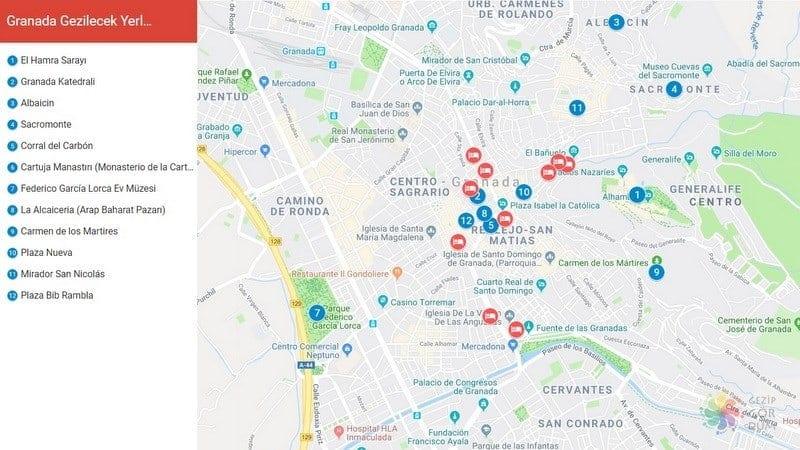 granada gezilecek yerler harita konumları