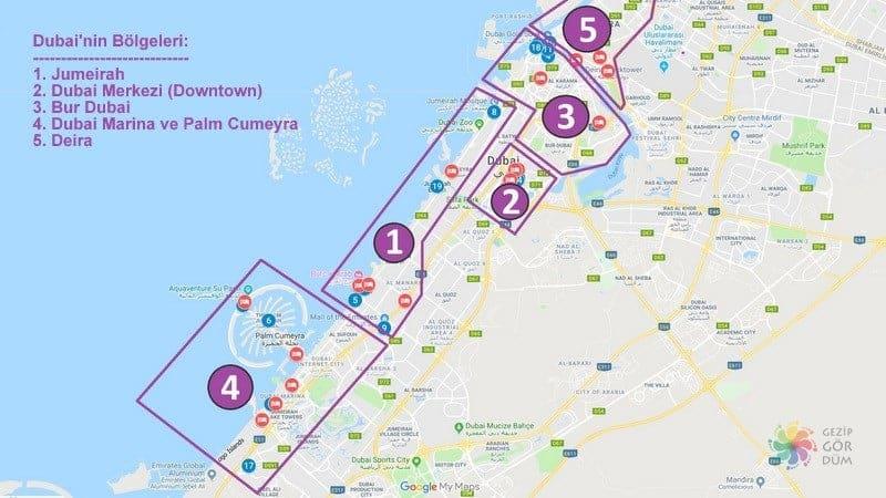 Dubai'de konaklama yapılacak bölgeler