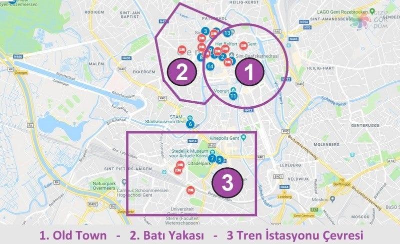 Gent'te konaklama yapılacak bölgeler