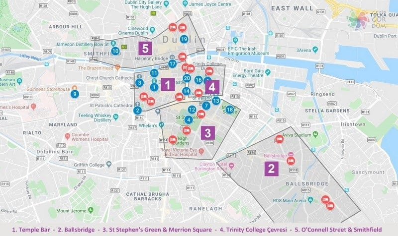Dublin'de konaklama yapılacak bölgeler