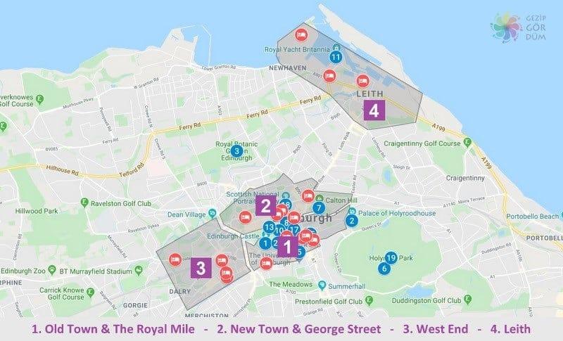 Edinburgh'da konaklama yapılacak bölgelerin harita konumları