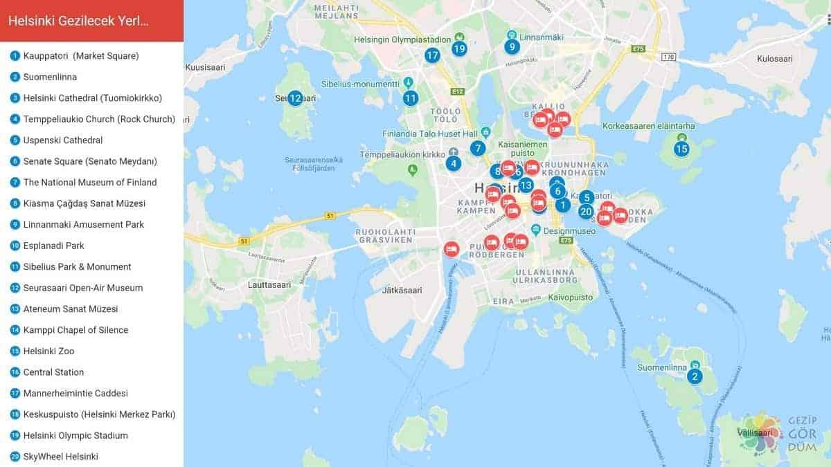 helsinki'de gezilecek görüelcek yerler harita konumaları