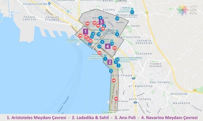 Selanik'te konaklama yapılacak bölgeler, Selanik otel tavsiyesi