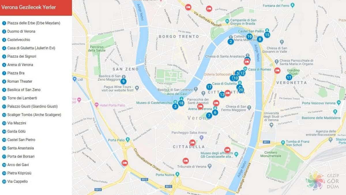 Verona gezilecek yerler harita konumları, Verona haritası