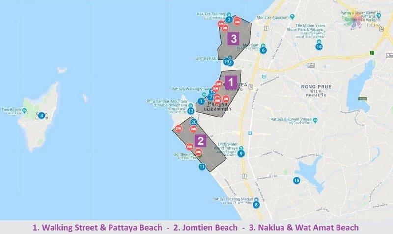 Pattaya'da konaklama yapılacak bölgelerin harita konumları
