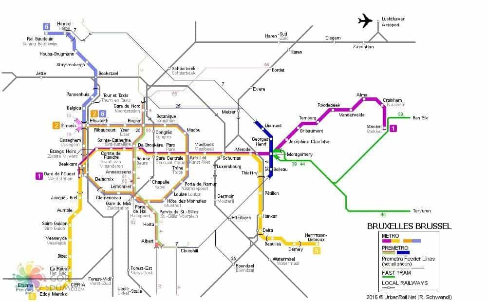 Brüksel şehir içi ulaşım haritası