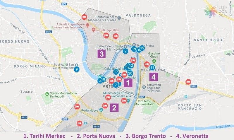 Verona'da konaklama yapılacak bölgeler harita konumları