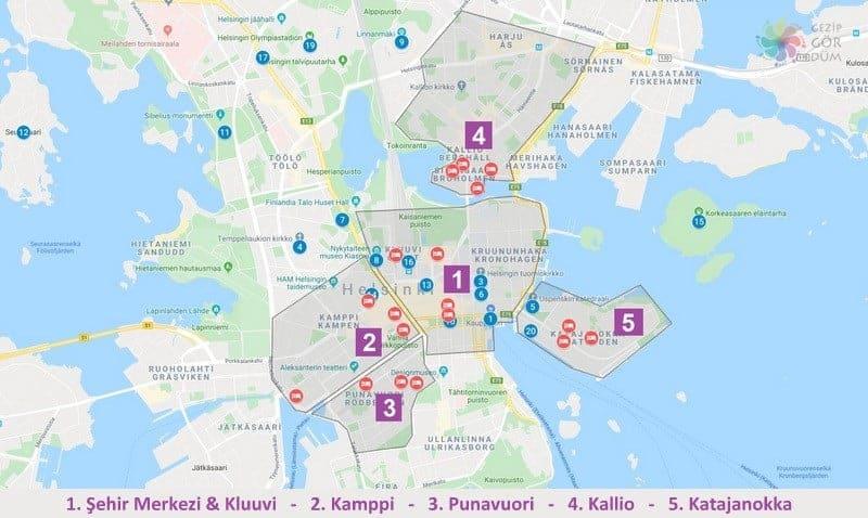 Helsinki'de konaklama yapılacak bölgelerin harita konumları