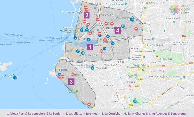 Marsilya'da nerede kalınır harita konum bilgileri