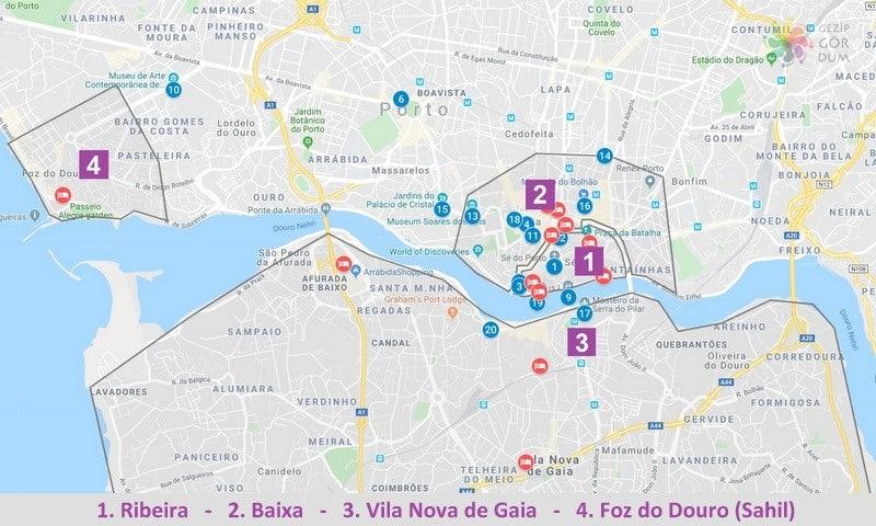 Porto'da konaklama yapılacak bölgeler ve konumları