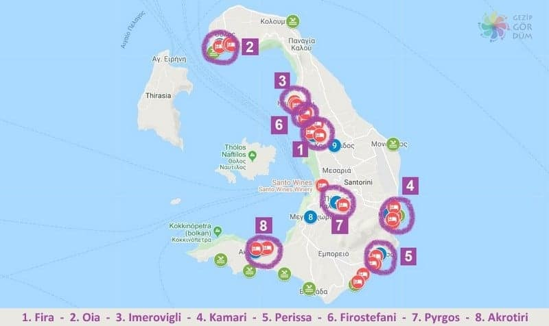 Santorini'de konaklama yapılacak bölgeler, Santorini'de nerede kalınır harita konumları