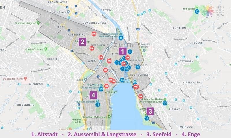 Zürih'te konaklama yapılacak bölgelerin harita konumları