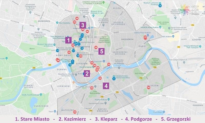 Krakow'da konaklama yapılacak yerler harita konumları
