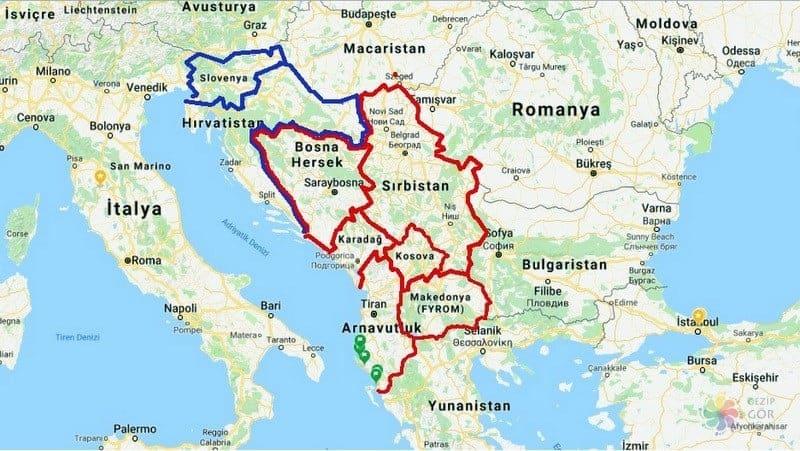 Balkanlar seyahati gezisi harita