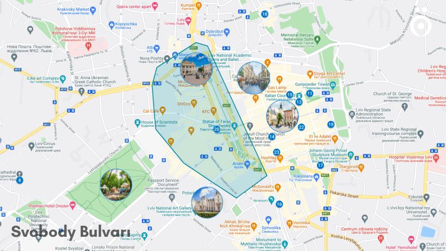 Svobody Bulvarı Lviv'de konaklama
